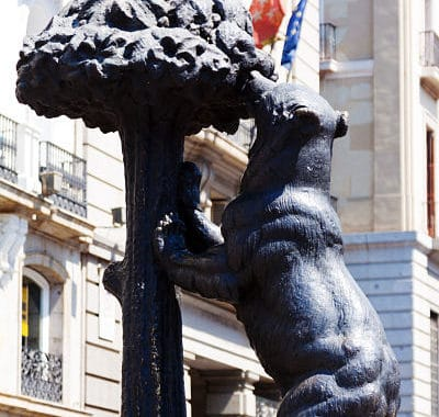 Statue of Bear and Madrono Tree. Madrid, Spain